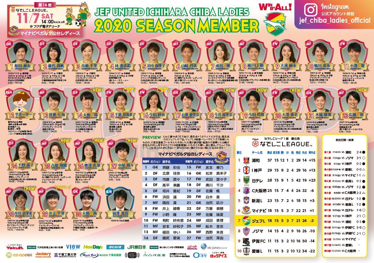 11月7日(土)マイナビベガルタ仙台レディース戦マッチデープログラムについて