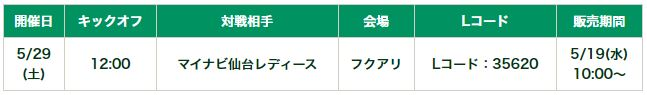 2021WEリーグプレシーズンマッチ 5月29日(土)マイナビ仙台レディース戦 チケット販売について